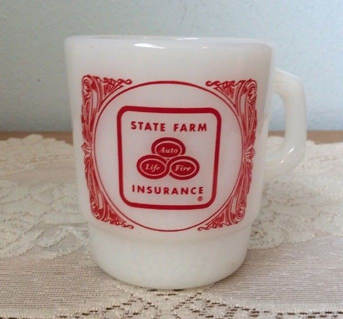 State Farm Insurance Anchor Hocking Fire King Advertising Mug Cup