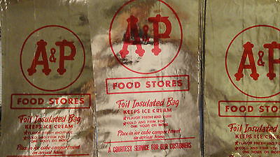 A & P FOOD STORE FOIL INSULATED BAGS KEEPS ICE CREAM SET OF 13--3 SMALL & 10 LRG