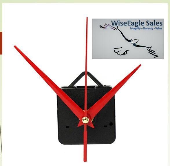 Silent Wall Quartz Clock Movement (spindle 9mm)(Red Hands) (W/Hook) DIY Repair
