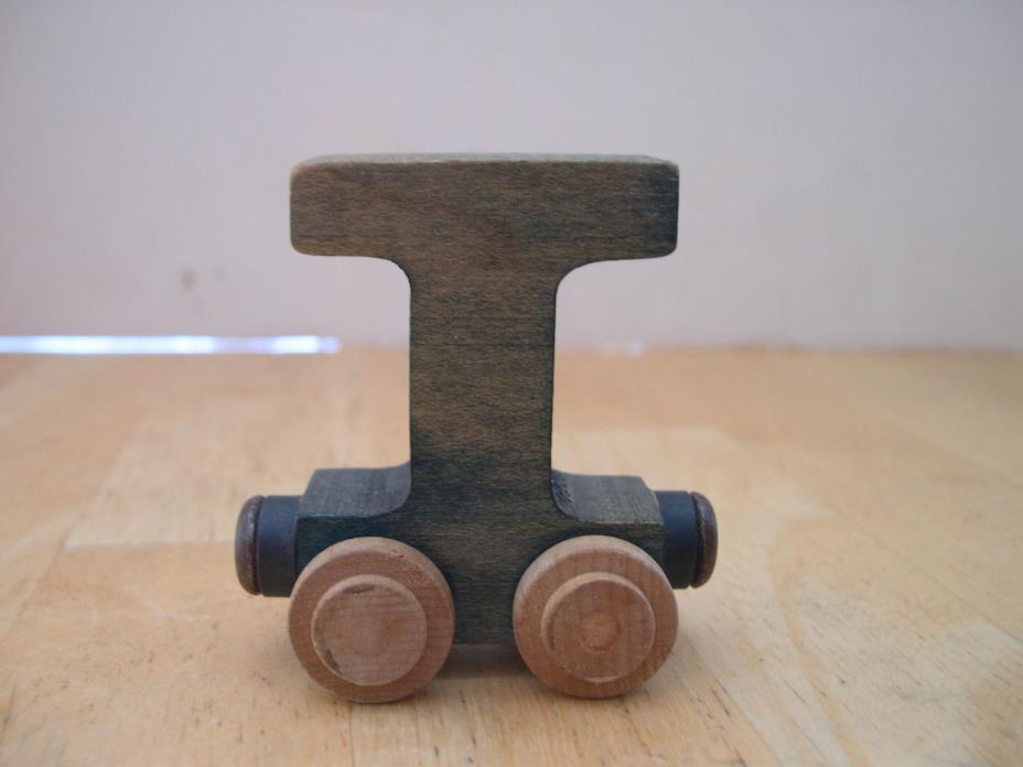 Green Wooden Letter I Train Car Brio and Thomas Track Compatible