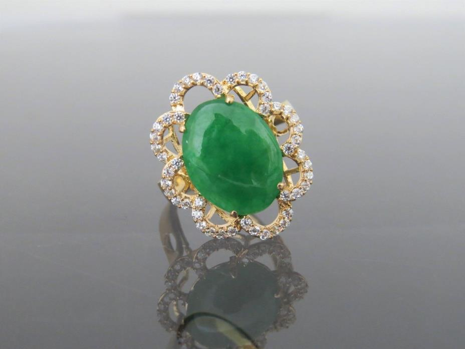 Vintage 18K Gold Emerald Green Jadeite Jade & White Topaz Flower Ring Size 7.5