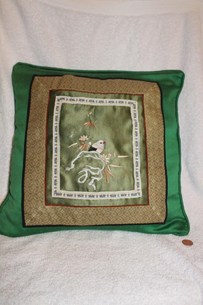 Vintage Chinese silk embroidery pillow with bird