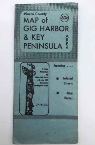 Vintage 1969 Color-Craft Press Map of Gig Harbor Key Peninsula Area WA (RF735)