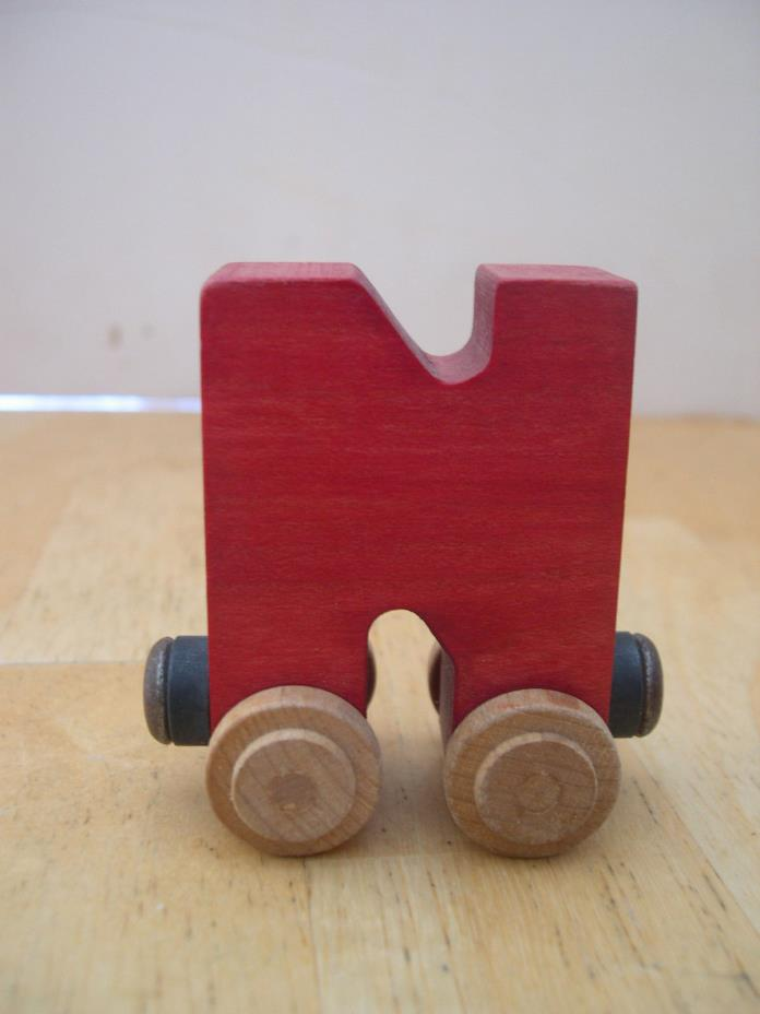 Red Wooden Letter N Train Car  Brio & Thomas Tracks Compatible