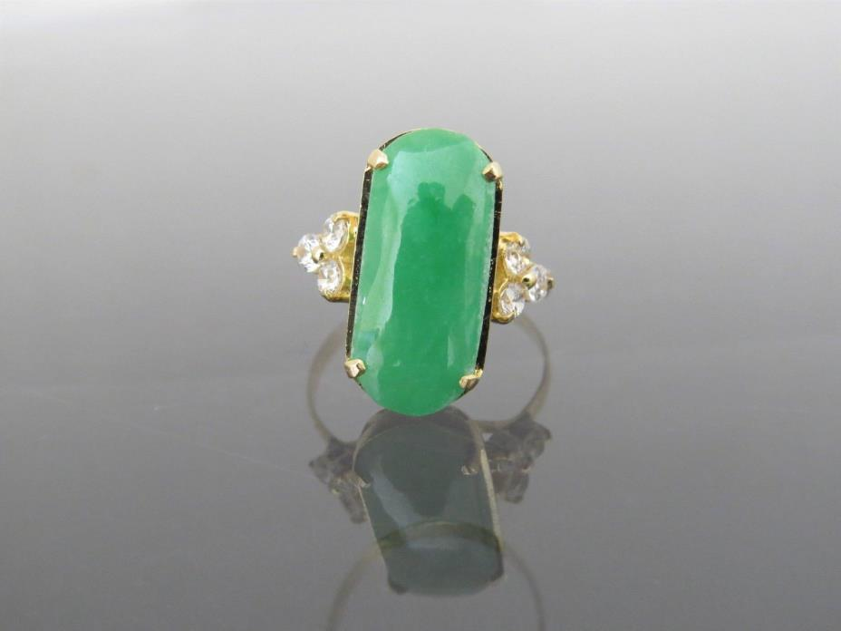 Vintage 18K Solid YG Green Jadeite Jade & White Topaz Saddle Ring Size 7.25