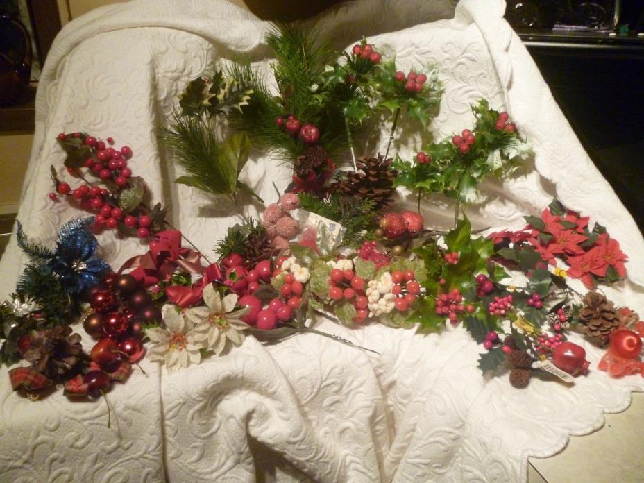 48 pc Lot Christmas Picks Corsage Wax Pip Berry Sugar Coat Cones Floral Crafts
