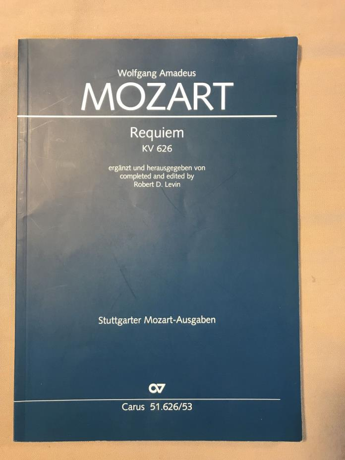 Mozart Requiem KV 626 Vocal Score SATB Sheet Music Book in German by Levin