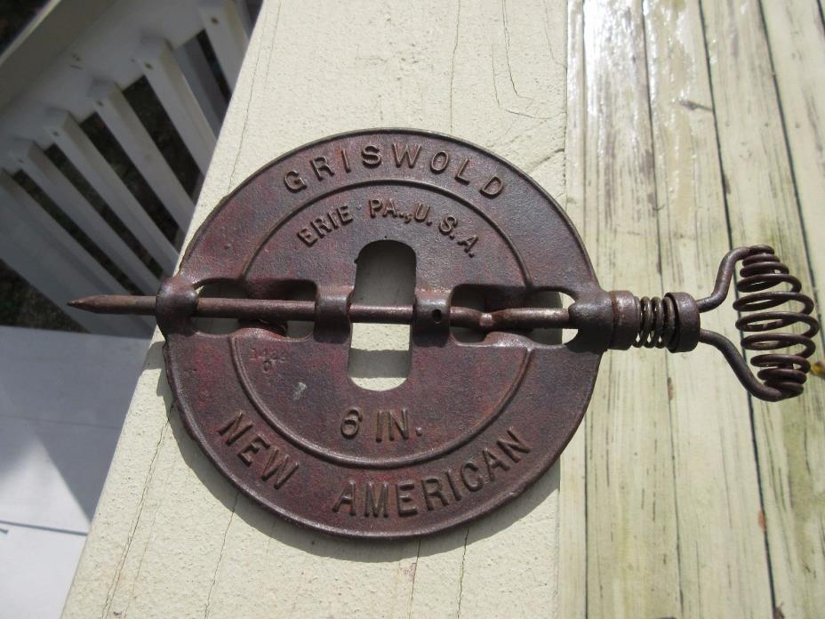 Flue Damper 6 inches Vintage Griswold Cast Iron w/ Spindle Chimney Flue Griswald