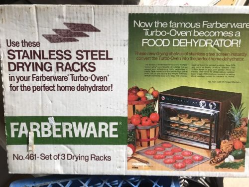 3 Farberware Stainless Steel Drying Racks 461 For Turbo Oven Food Dehydrator NIB