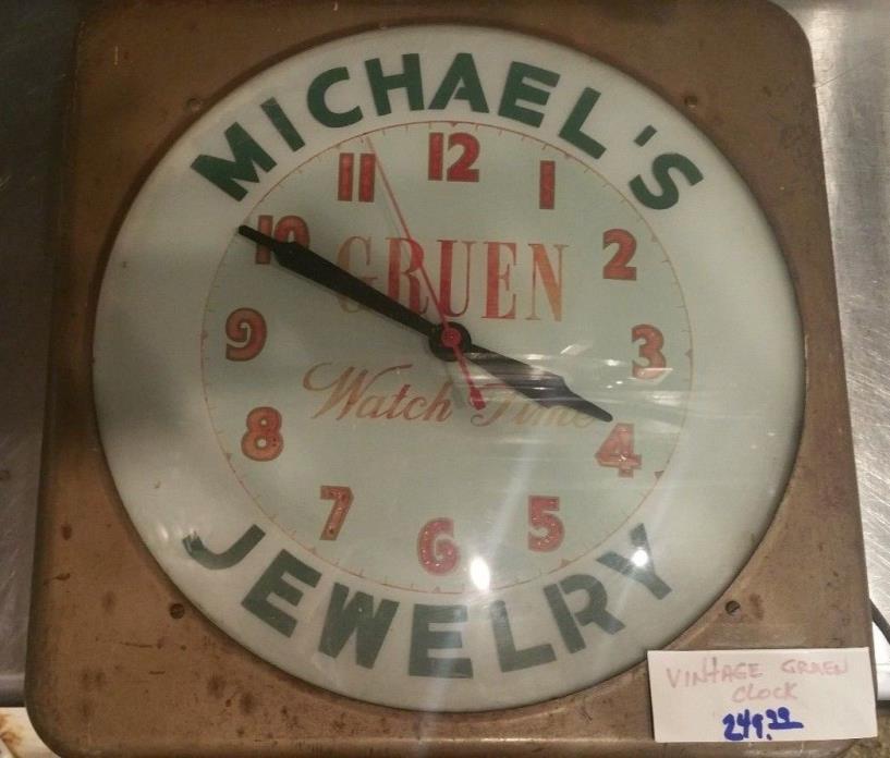 Vintage GRUEN WATCH TIME Advertising WALL clock - Michael's jewelry Galveston,Tx