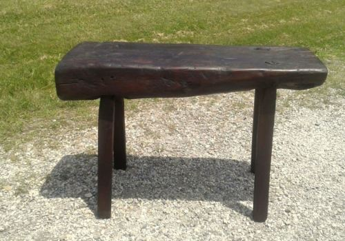 Carpenter Log Work Bench Primitive Antique Circa 1880