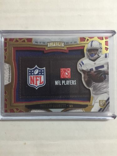 2015 Topps Supreme Phillip Dorsett TRUE 1 of 1 NFL LOGO Jersey Jumbo Relic Patch