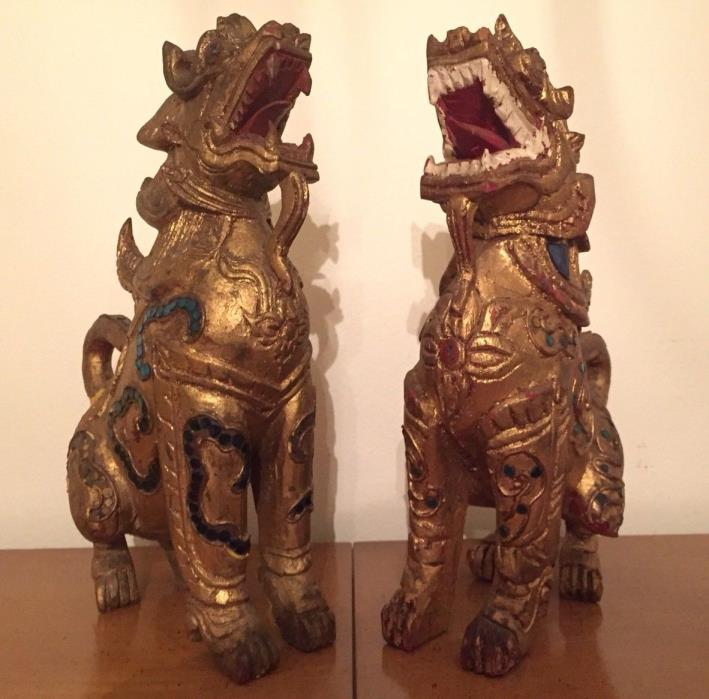 """Rare 19thC Pair of Burmese (Myanmar) Carved Gilt Wood Guardian Lions, """"Chinthe"""""""