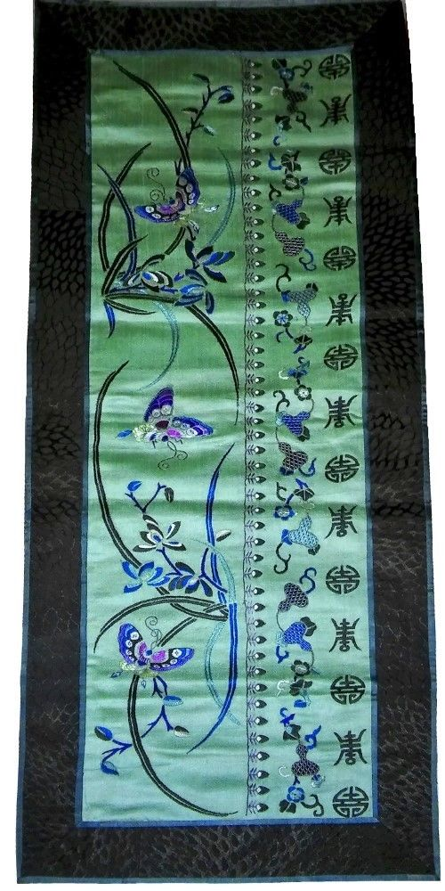 Long Antique Chinese Silk Robe Embroidery Qing Embroidered Butterfly 19thc Jade