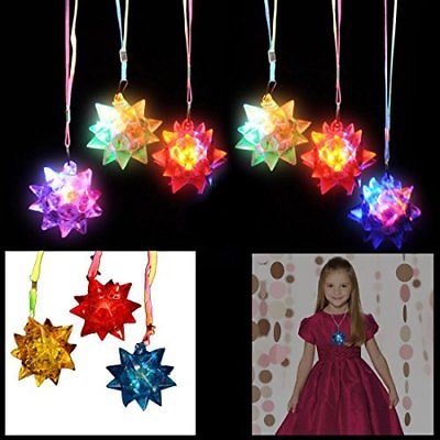 Dazzling Toys LED Blinking Crystal Star Necklace Glow Toy Flash Lights Set..