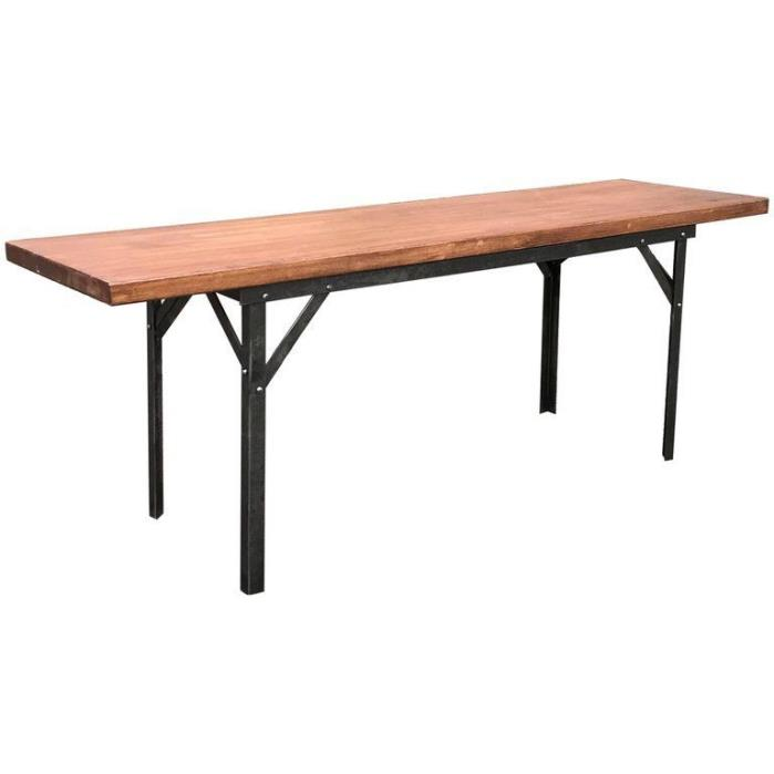 Industrial Angle Iron and Maple Block Bench