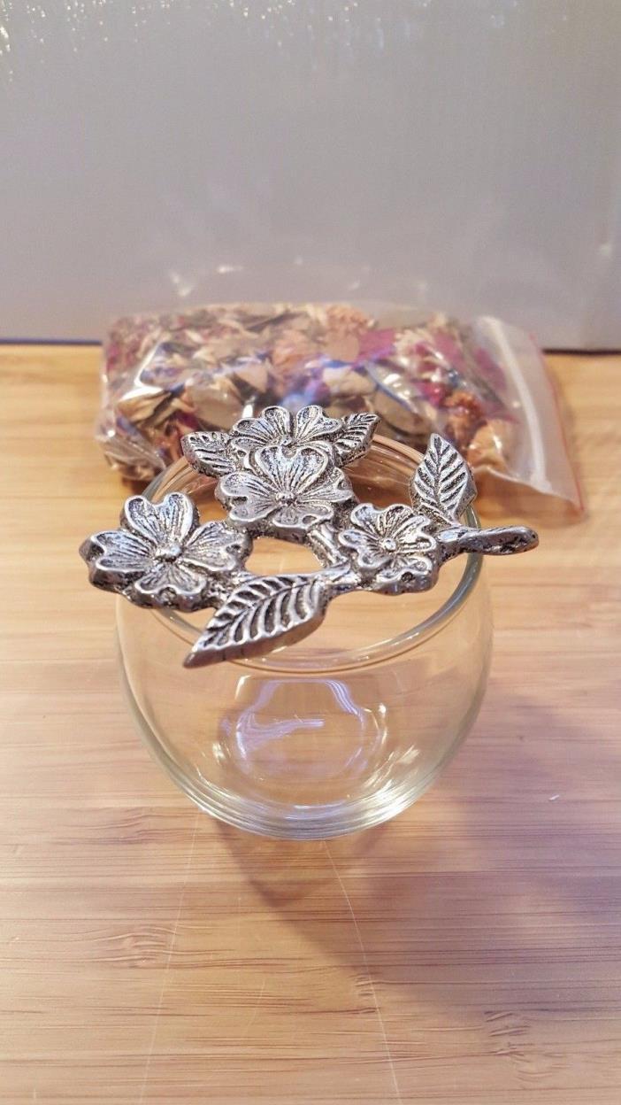 New Pewter and Glass Potpourri Jar Table Top Vanity Trinket Holder Floral Design