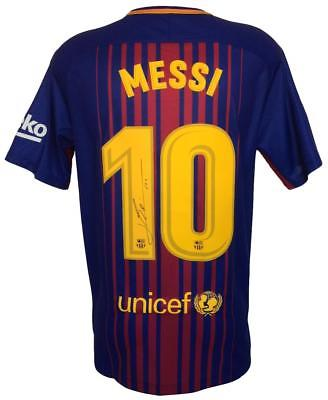 Lionel Messi Signed 2017/18 Nike Barcelona Home Soccer Jersey Messi COA