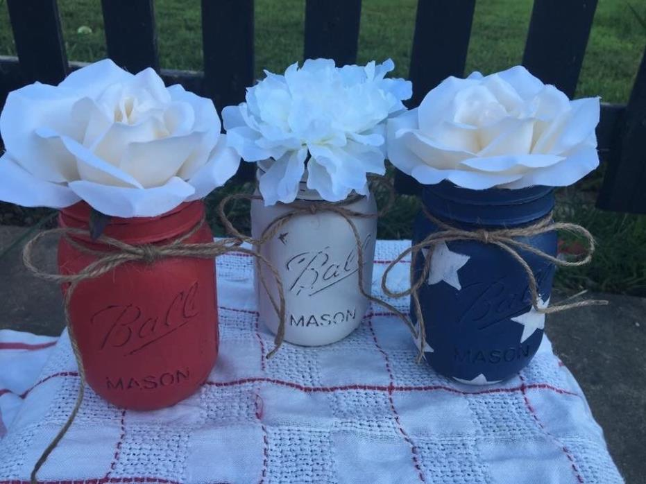 Red, White, and Blue! 3 Mason Jars star theme Decor