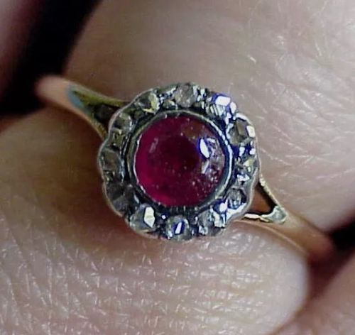 Antique Georgian Rose Cut Diamond Red Stone French ? 14Kt Gold SZ 6 1/2 Ring