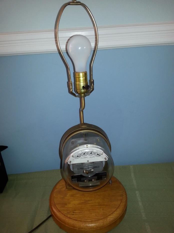 Sangamo Electric Co  Meter Lamp Steampumk Man Cave Party Room Lighting wood base