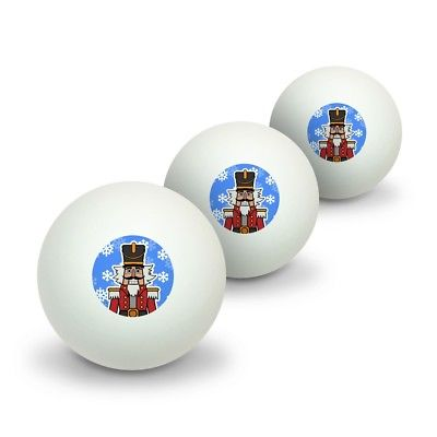 Grinning Nutcracker Soldier with Snowflakes Table Tennis Ping Pong Ball 3 Pack