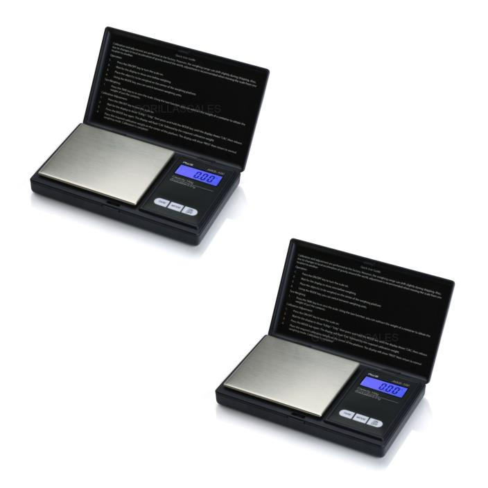 2 PACK AWS 100 Gram x 0.01g Digital Pocket Scales Carat American Weigh Black