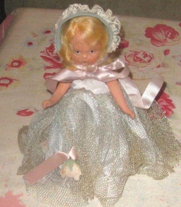 Nancy Ann Story Book Doll Light Blue Bonnet Lace Trim Blue Dress 2 Layers Muffie