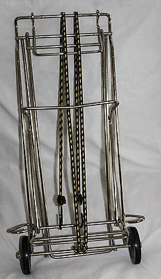 VINTAGE HEAVY METAL SMALL COLLAPSIBLE LUGGAGE GROCERY CART TROLLEY DOLLY CARRIER