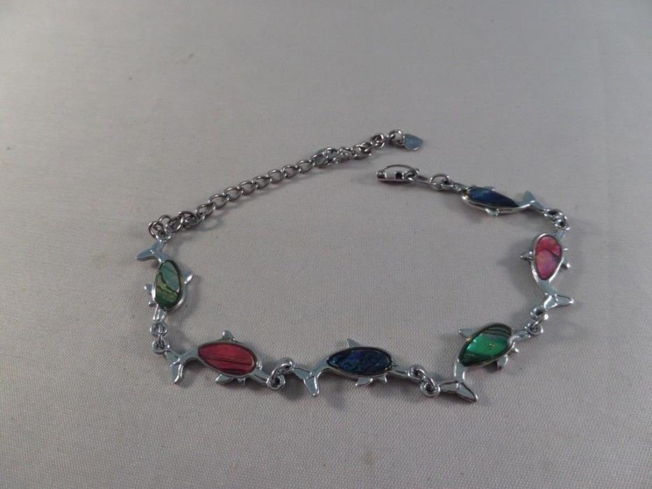 Silver Tone Abalone Dolphin Ankle Bracelet H6