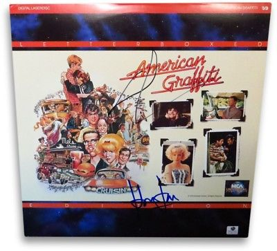 George Lucas/Harrison Ford Autographed Laserdisc Cover American Graffiti GA JSA