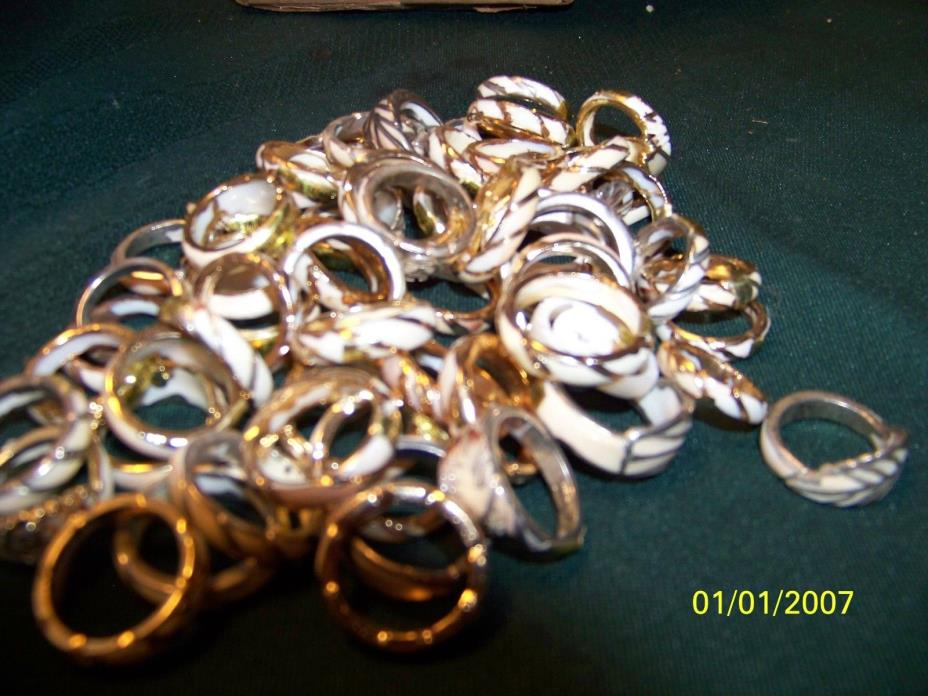 WHOLE SALE LOT 12 J118  67 RING S SHELL RINGS GOLD PLATED TRIM