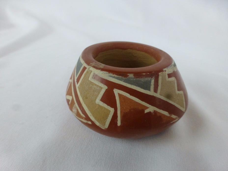 Santa Clara Pueblo Indian Pottery Red Feather Bowl  [Y9-W6-A9]