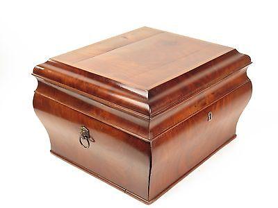 Antique cellarette wine cooler liquor box early burled mahogany insert 19th c