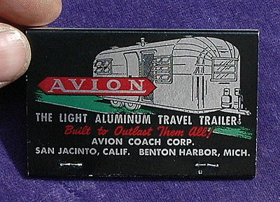 Vintage NOS 1960's Avion Travel Trailer Matchbook, Large, Nice Graphics