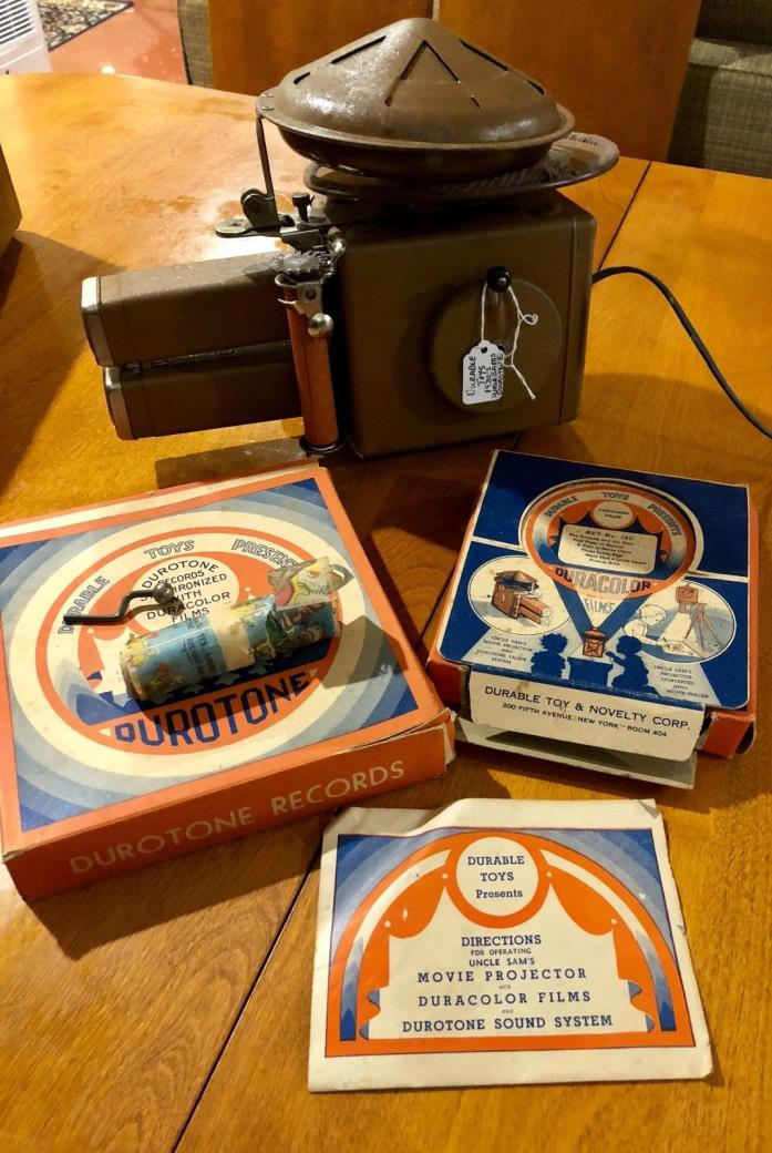 Vintage 1930's Uncle Sam's Movie Projector No. 427 Gift Set 6 Films 3 Records