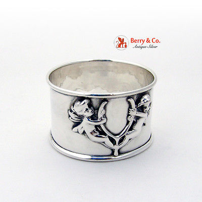 Cupid Wishbone Napkin Ring Sterling Silver 1900