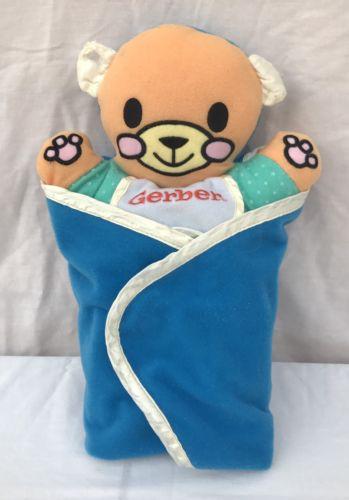 Gerber Baby Teddy Bear Blue Swaddle Blanket Rattle Hand Crinkle Ears