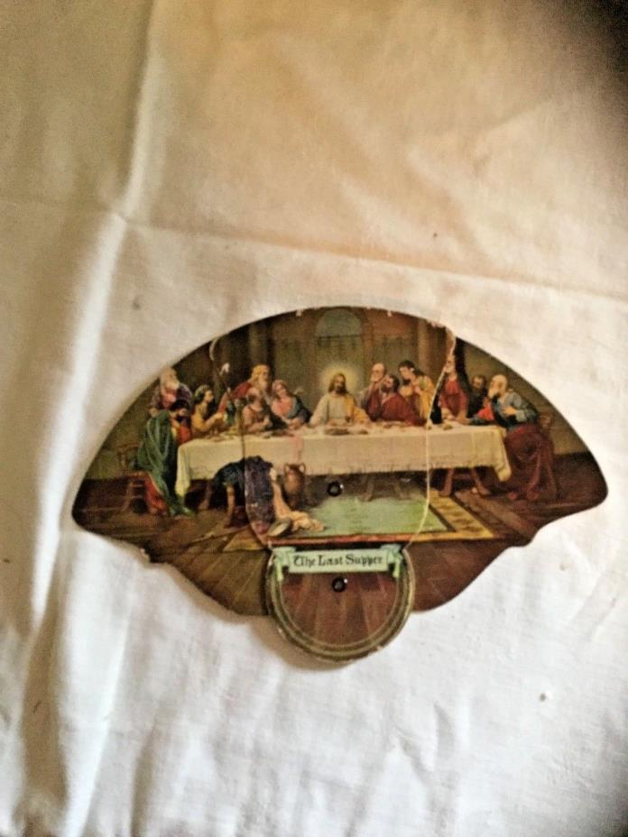Vintage Funeral Home Fan The Last Supper Jesus Christ Religious Ephemera