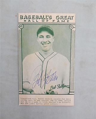BOB FELLER Autograph Baseball Hall of Fame Card,Cooperstown NY,Cleveland Indians