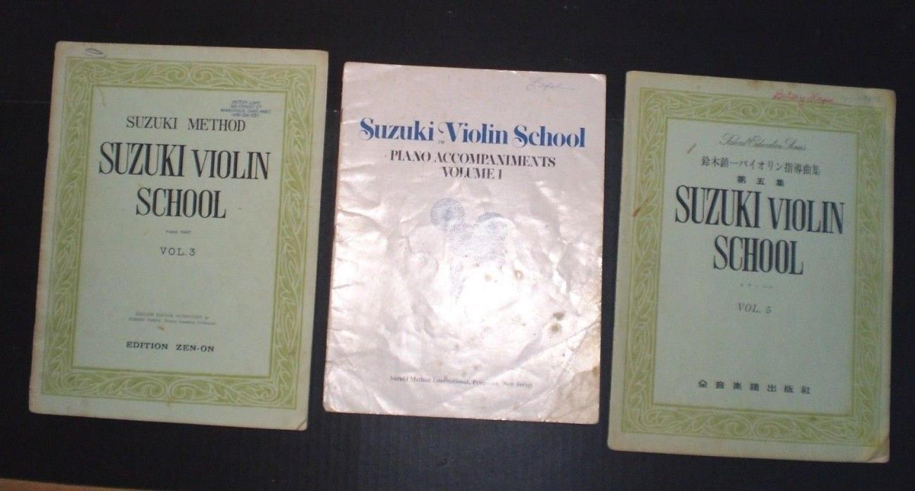 Lot of (3) VINTAGE SUZUKI VIOLIN SCHOOL INSTRUCTION BOOKS Vols. 3, 5 + Piano V.1