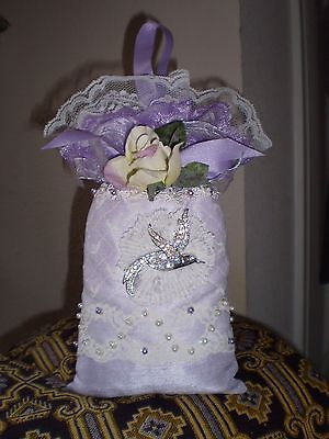LILAC POMANDER HANGER-NEW-JEWELED LACE FABRIC-LILAC & WHITE-ADD YOUR FRAGRANCE