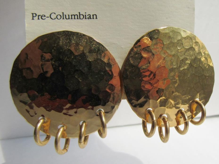 Disc & Ring Pre Columbian 1988 Alva Museum Reproduction Earrings