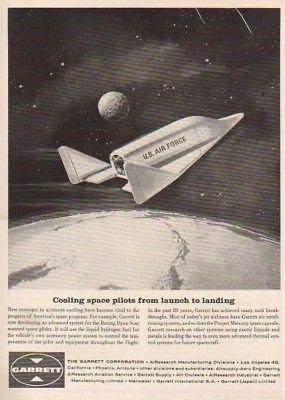 1961 USAF NASA Dyna-Soar spaceship glider Boeing ad : Vintage Advertising