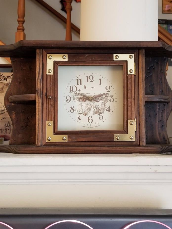 mantel wood clock with shelves