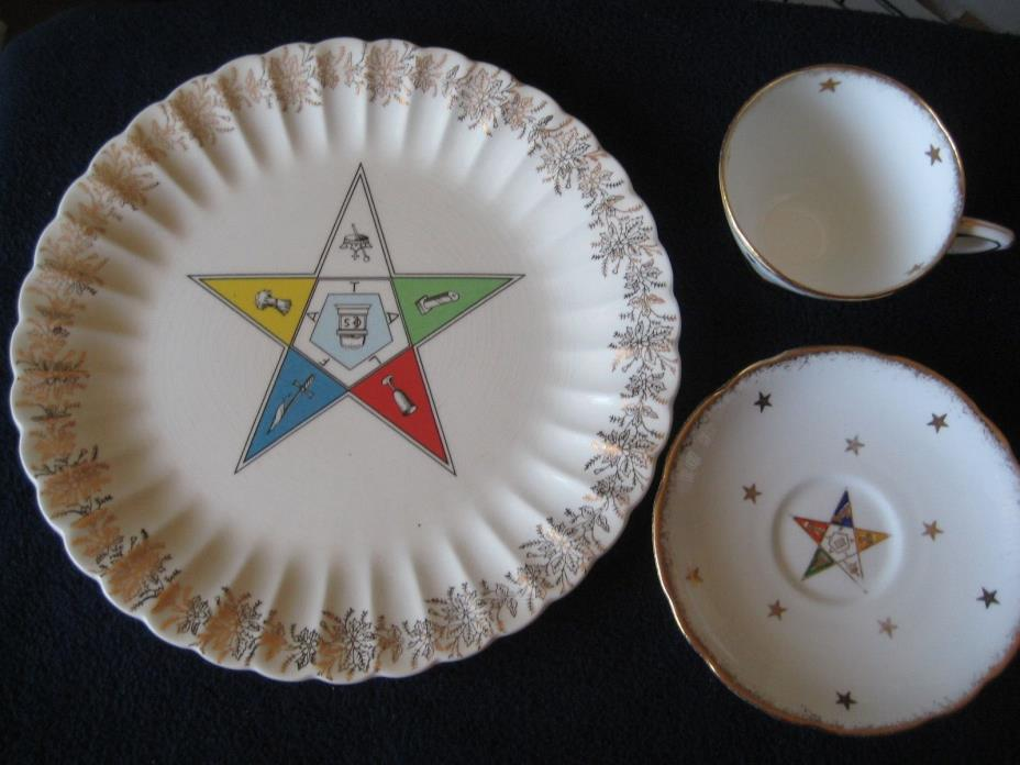 Sanders MFG Co Eastern Star Masonic Plate & OES Royal Stafford Tea Cup & Saucer