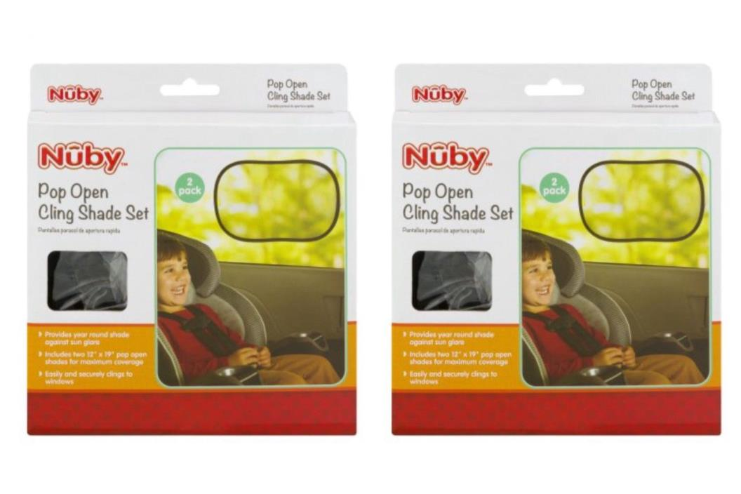 Lot Of 2 - Nuby Pop Open Cling Shade Set, 1.0 CT