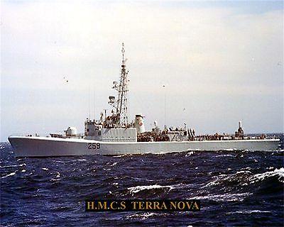 ROYAL CANADIAN NAVY DESTROYER HMCS TERRA NOVA DD259 PHOTO WITH BONUS STAT SHEET