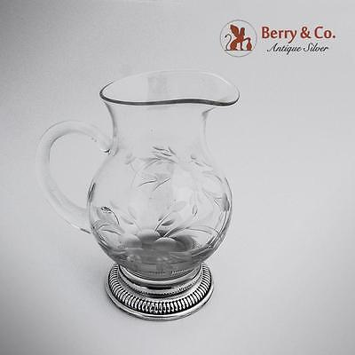 Gadrooned Pitcher Sterling Silver Cut Glass 1960