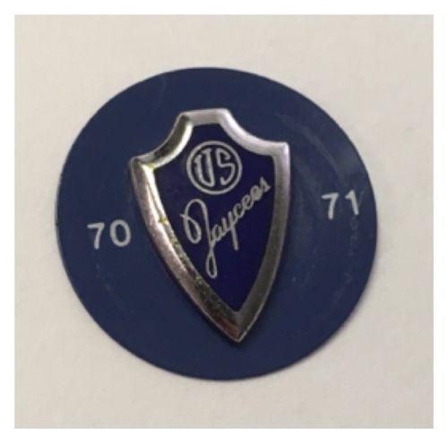 Vintage Jaycees Shield Lapel Pin Tie Tac Tack Blue Enamel 1970-1971